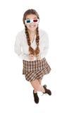 Menina do lerdo com vidros 3d Fotografia de Stock Royalty Free