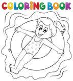Menina do livro para colorir no anel da nadada ilustração royalty free