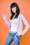 Menina do Lollipop foto de stock
