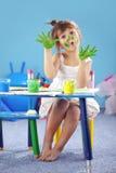 Menina do miúdo da pintura Imagens de Stock Royalty Free