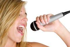 Menina do microfone Foto de Stock Royalty Free