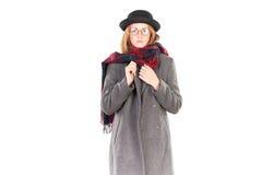 Menina do moderno no tempo frio Foto de Stock