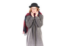 Menina do moderno no tempo frio Foto de Stock Royalty Free
