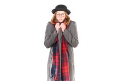 Menina do moderno no tempo frio Imagens de Stock Royalty Free