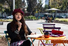 Menina do moderno do turista no la Condesa, Cidade do México fotografia de stock