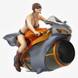 Menina do motociclista em uma bicicleta futurista Foto de Stock
