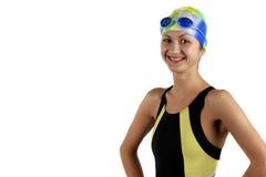 Menina do nadador do retrato fotos de stock