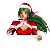 Menina do Natal com borda do sinal em branco Foto de Stock Royalty Free