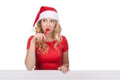Menina do Natal com a pena, conceito do xmas isolada Fotografia de Stock