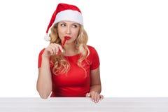 Menina do Natal com pena, conceito isolated02 do xmas Imagem de Stock