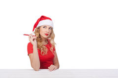 Menina do Natal com pena, conceito isolated01 do xmas Fotografia de Stock Royalty Free