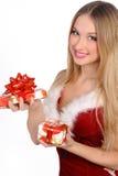 Menina do Natal com presente Fotografia de Stock Royalty Free