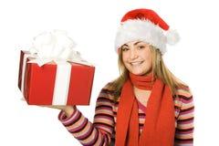 Menina do Natal da beleza em h vermelho Fotografia de Stock Royalty Free