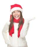 Menina do Natal que mostra o espaço da cópia Foto de Stock Royalty Free