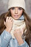 Menina do Natal, retrato de uma mulher bonita nova imagem de stock royalty free