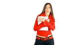 Menina do negócio que esconde o papel em branco Foto de Stock
