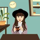 Menina do negócio que senta-se no escritório com café ilustração stock
