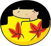 Menina do outono do kokeshi do vetor imagem de stock royalty free