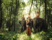 Menina do país com elefantes Imagens de Stock Royalty Free
