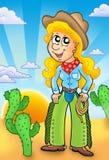 Menina do país com por do sol ilustração royalty free