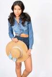 Menina do país na sarja de Nimes Fotos de Stock Royalty Free