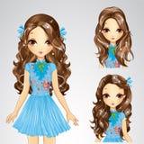 Menina do penteado na saia azul Ilustração Royalty Free