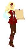Menina do pirata com rolo Foto de Stock Royalty Free