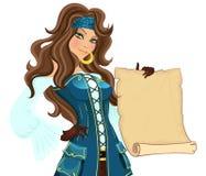 Menina do pirata com rolo Foto de Stock