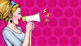 Menina do pop art com megafone Mulher com altifalante Cartaz da propaganda com a senhora que anuncia o disconto ou a venda ilustração stock