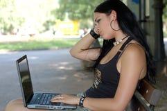 Menina do portátil Foto de Stock Royalty Free