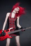 Menina do Redhead com guitarra Fotos de Stock Royalty Free
