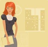 Menina do Redhead no escritório Fotografia de Stock Royalty Free