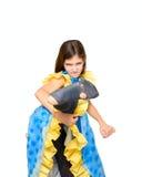 Menina do retrato no vestido esperto e em calças justas rasgadas Imagens de Stock