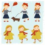 Menina do ruivo com um cão um bassê e um balão Meninas do teste padrão em estilos diferentes Fotografia de Stock