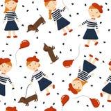 Menina do ruivo com um cão um bassê e um balão Meninas do teste padrão em estilos diferentes Imagens de Stock
