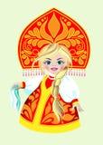 Menina do russo em um vestido vermelho Imagem de Stock