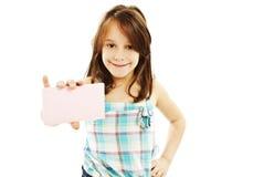Menina do sinal do cartão do presente Fotos de Stock Royalty Free