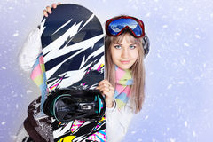 Menina do Snowboard Imagem de Stock