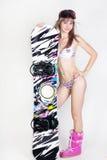 Menina do Snowboard Foto de Stock Royalty Free