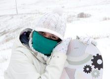 Menina do Snowboarder Fotografia de Stock Royalty Free