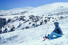 Menina do Snowboarder Foto de Stock Royalty Free