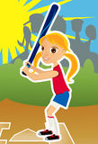 Menina do softball ilustração do vetor