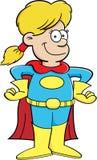 Menina do super-herói dos desenhos animados ilustração royalty free