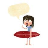 menina do surfista dos desenhos animados com bolha do discurso Fotografia de Stock