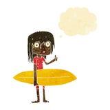 menina do surfista dos desenhos animados com bolha do pensamento Fotografia de Stock Royalty Free