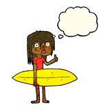 menina do surfista dos desenhos animados com bolha do pensamento Imagens de Stock