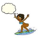 menina do surfista dos desenhos animados com bolha do pensamento Imagem de Stock