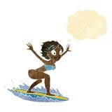 menina do surfista dos desenhos animados com bolha do pensamento Foto de Stock