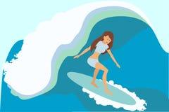 Menina do surfista em uma onda ilustração do vetor