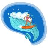 Menina do surfista que monta a imagem do vetor de ondas do mar ilustração do vetor